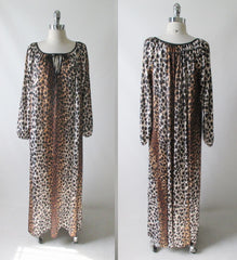 vintage 60's 70's leopard print nightgown maxi lounge gown dress