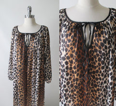 vintage 60's 70's leopard print nightgown maxi lounge gown dress bow