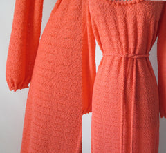 vintage 70's orange knit maxi full length sweater dress gown details