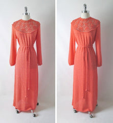 vintage 70's orange knit maxi full length sweater dress gown