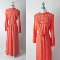 vintage 70's orange knit maxi full length sweater dress gown full