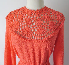 vintage 70's orange knit maxi full length sweater dress gown bodice