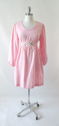 Vintage 70's Pink Gingham Seersucker Dolly Dress L