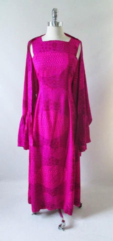 Vintage 60's 70's Bold Purple Pink Watteau Maxi Dress & Matching Wrap XS