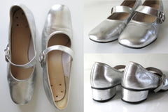 Vintage 60's Silver Mary Jane Square Dance Shoes In Box 8 1/2 - Bombshell Bettys Vintage
