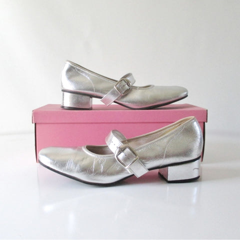 Vintage 60's Silver Mary Jane Square Dance Shoes In Box 8 1/2