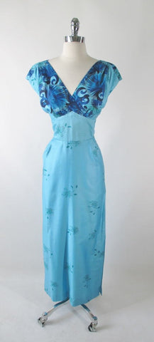 Vintage 60's Blue Hawaiian Ohia Lehua Floral Sheath Dress M