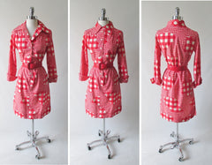 vintage 60's mod i magnin gingham red white flower button down shirt dress