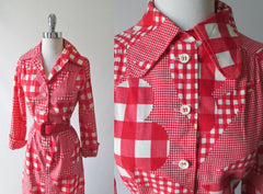 vintage 60's mod i magnin gingham red white flower button down shirt dress collar