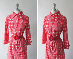 vintage 60's mod i magnin gingham red white flower button down shirt dress bodice