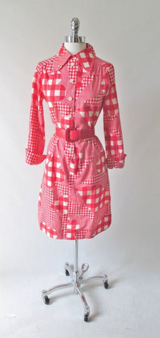 Vintage 60's I Magnin Gingham Flower Shirt Dress M