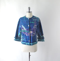 vintage 60's Mr Lee Blue Purple pop art Mod cropped peacock rhinestone fringe jacket bombshell bettys vintage angle