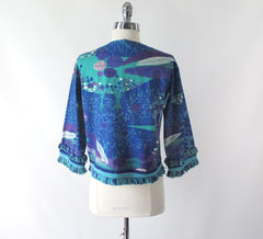 vintage 60's Mr Lee Blue Purple pop art Mod cropped peacock rhinestone fringe jacket bombshell bettys vintage back