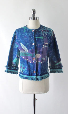 Vintage 60's Cropped Rhinestone Collar Peacock Jacket L
