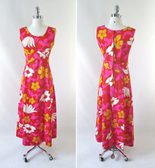 vintage 60's red white pink Hawaii Nei Hawaiian maxi MOD dress bombshell bettys vintage full