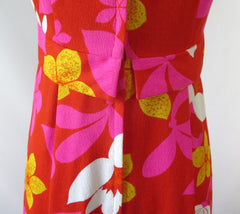vintage 60's red white pink Hawaii Nei Hawaiian maxi MOD dress bombshell bettys vintage back