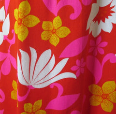 vintage 60's red white pink Hawaii Nei Hawaiian maxi MOD dress bombshell bettys vintage print