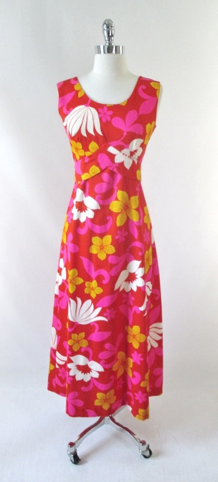 vintage 60's red white pink Hawaii Nei Hawaiian maxi MOD dress bombshell bettys vintage gallery