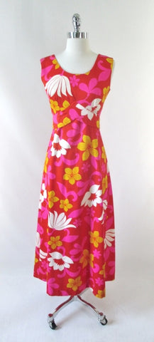 Vintage 60's MOD Hawaiian Maxi Dress Luau M