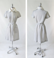 Vintage 60's Black & White Belted Shift Dress L