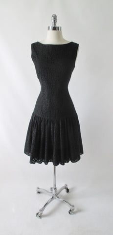 Vintage 60's Black Lace Flounced Sheath Party Dress M