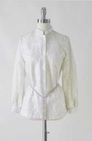 Vintage 60's MOD Silver Damask White Satin Nehru Evening Blouse / Jacket L