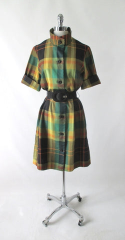 Vintage 60's Plaid Koratron MOD Shirt Dress