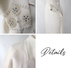 Vintage 60s White Pearl Rhinestone Wool Knit Suit L - Bombshell Bettys Vintage