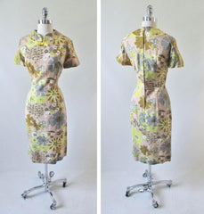 Vintage 60's Abstract Flower Butterfly Sheath Dress L - Bombshell Bettys Vintage