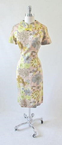 Vintage 60's Abstract Flower Butterfly Sheath Dress L