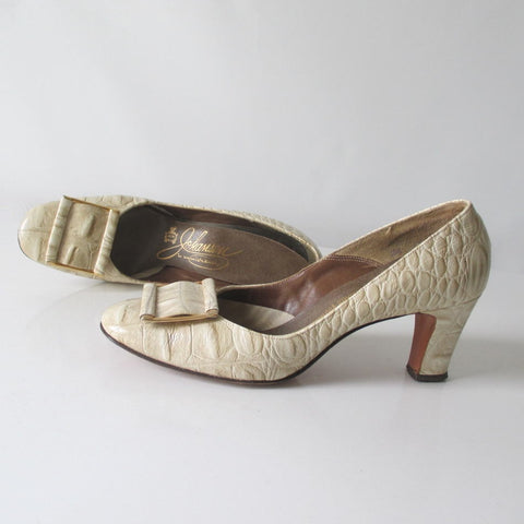Vintage 60's Alligator Heels Shoes 7.5 AA