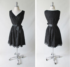 Vintage 60's Black Lace Cocktail Party Dress M - Bombshell Bettys Vintage