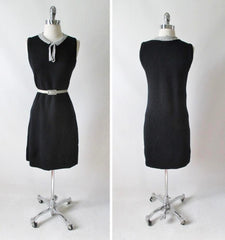 Vintage 60's Donbros Scotland Black & Silver Knit Sweater Shift Dress M - Bombshell Bettys Vintage