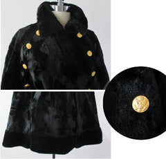 Vintage 60's Faux Fur Velvet Cape Wrap Jacket One Size - Bombshell Bettys Vintage