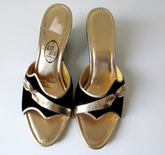 Vintage 60's Black Velvet & Gold Wedge Slip-On Shoes / Slippers 9 - Bombshell Bettys Vintage