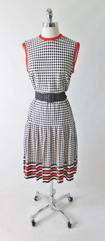 Vintage 60's Black White Checker Weave Pattern Day Dress L