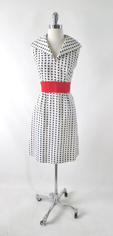 Vintage 60s Black White Polka Dot Sport Dress M