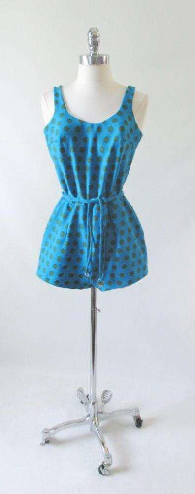 Vintage 60's Blue Green Polka Dot Playsuit Swimsuit Romper M - Bombshell Bettys Vintage