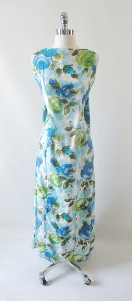Vintage 60's Blue Roses Watteau Pleat Maxi Dress M