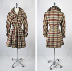 Vintage 60's Plaid Corduroy Princess Coat Jacket S