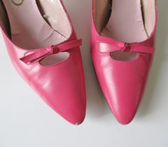 Vintage 60's Pink Heels With Bow Shoes Pumps 7.5 - Bombshell Bettys Vintage