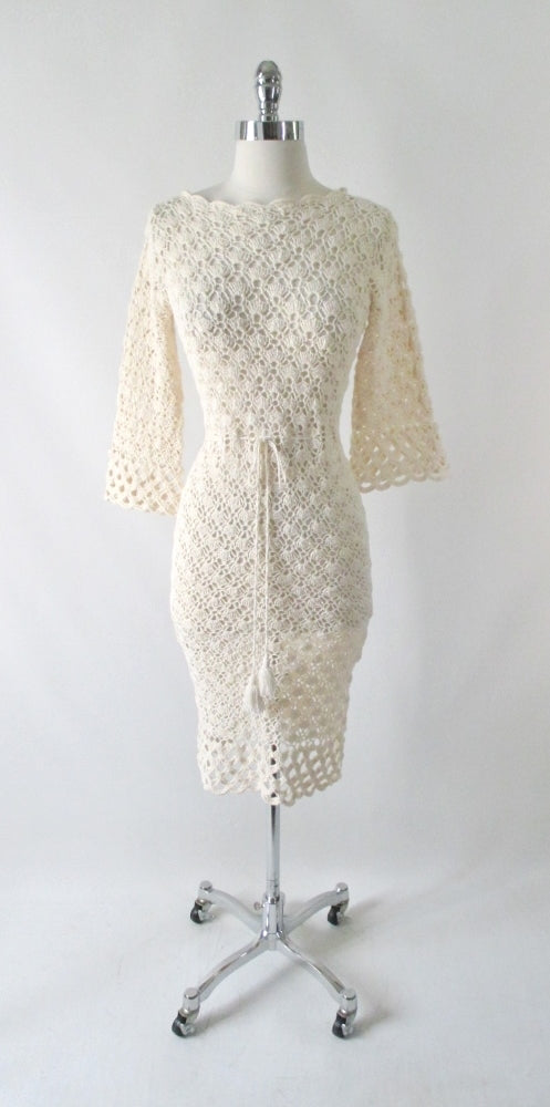 Vintage 60's Creme Bell Sleeve Crochet Lace Knit Dress S - Bombshell Bettys Vintage