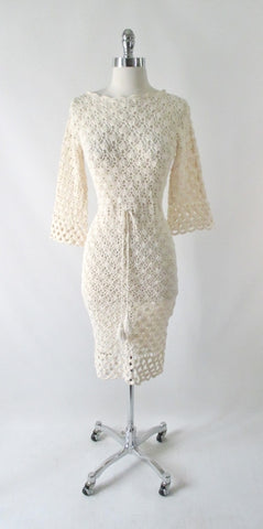 Vintage 60's Creme Bell Sleeve Crochet Lace Knit Dress S