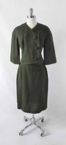 Vintage 60's Green Brown Fleck Wool Tweed Suit M