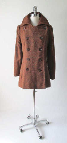 Vintage 60's MOD Copper Orange Fleck Pea Coat M