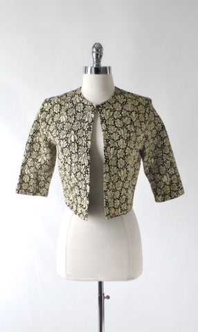 Vintage 60s Gold Lame Jaquard Evening Bolero Jacket S