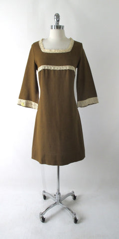 Vintage 60's Golden Brown Bell Sleeve Mini Dress L