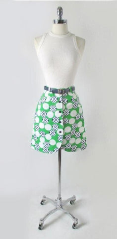 60's MOD Geo Green Blue Mini Skirt Shorts / Skorts & Matching Belt M