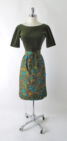 Vintage 60's Green Velvet & Watercolor Floral Dress S