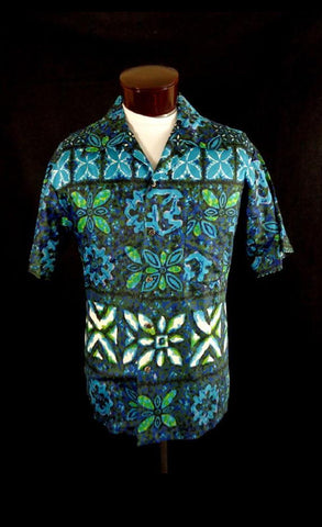 7ecc7638 Rare Vintage Iolani Red Bark Cloth Zip Front Belted Tribal Print Hawaiian  Shirt. $ 70.00 · Vintage Blue Likeke Polished Cotton Tribal Style Floral  Print ...